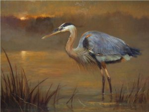 great blue heron standing in water