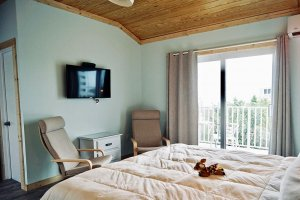 Bedroom with TV and chairs