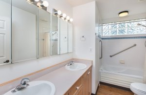 Double sink countertop in bathroom