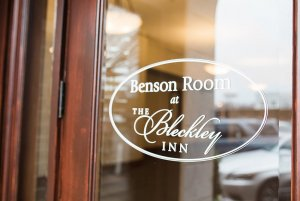 Benson room sign on glass door