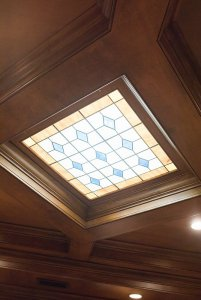 Glass pane skylight in ceiling