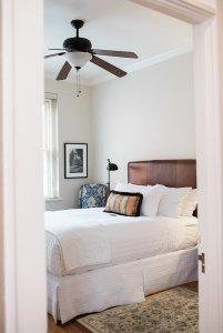 Bed in room through doorway