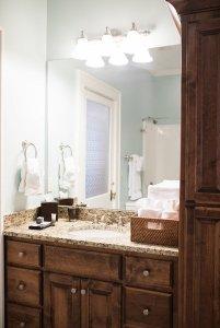 Bathroom countertop below mirror