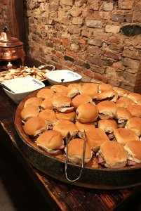 Ham sandwiches on platter
