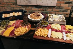 Cheeses and meats on trays