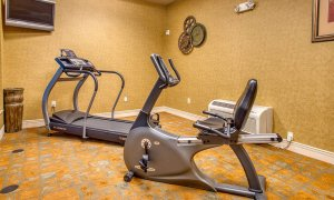 Treadmill and cycle in workout room