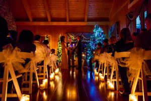 Wedding aisle lined with candles