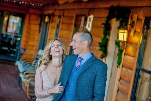 laughing bride and groom on their wedding day