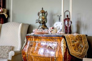 Side table with tea pot