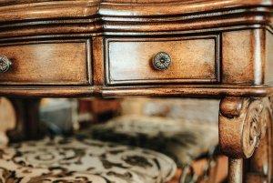 Knob on drawer of vanity