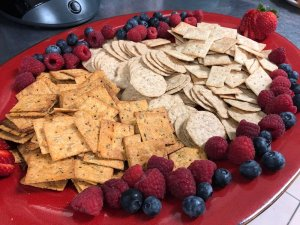 Tray of assorted berries and crackers