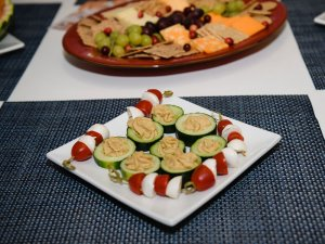 Tomato spears and cucumber treats on a tray