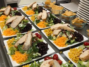 Chicken on plates of lettuce and salad toppings