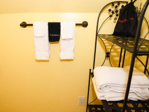 Hand towels hung from rack in bathroom