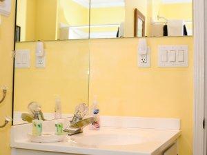 Mirror above sinktop in bathroom