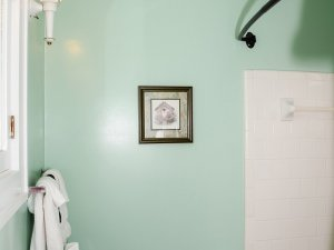 Small framed picture above towel rack in bathroom