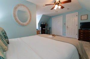 Bed under ceiling fan in bedroom