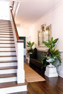 Staircase in hallway with wood bench