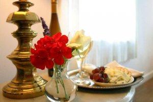 Breakfast plate on a dresser near lamp