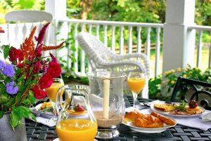 Breakfast on a patio table