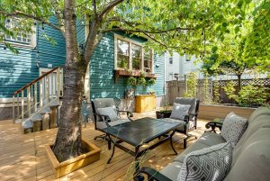 Tree above outdoor seats and table on deck