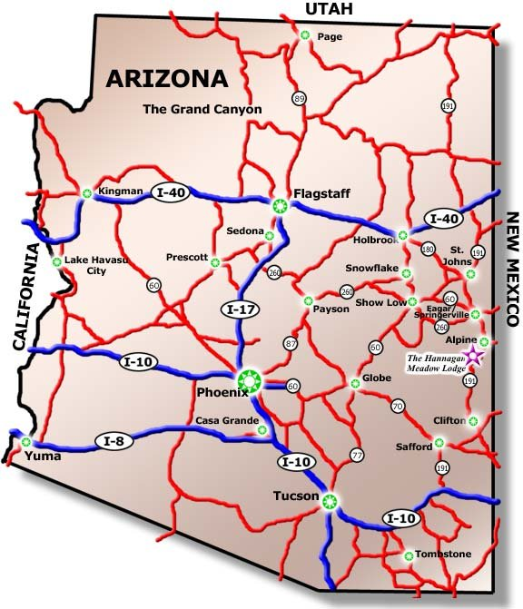 Us 60 Mile Marker Map Driving Directions   AZ White Mountains Lodging | Hannagan Meadow