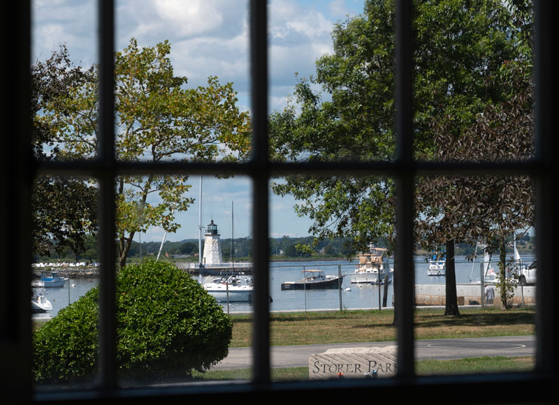 View of the harbor through a window