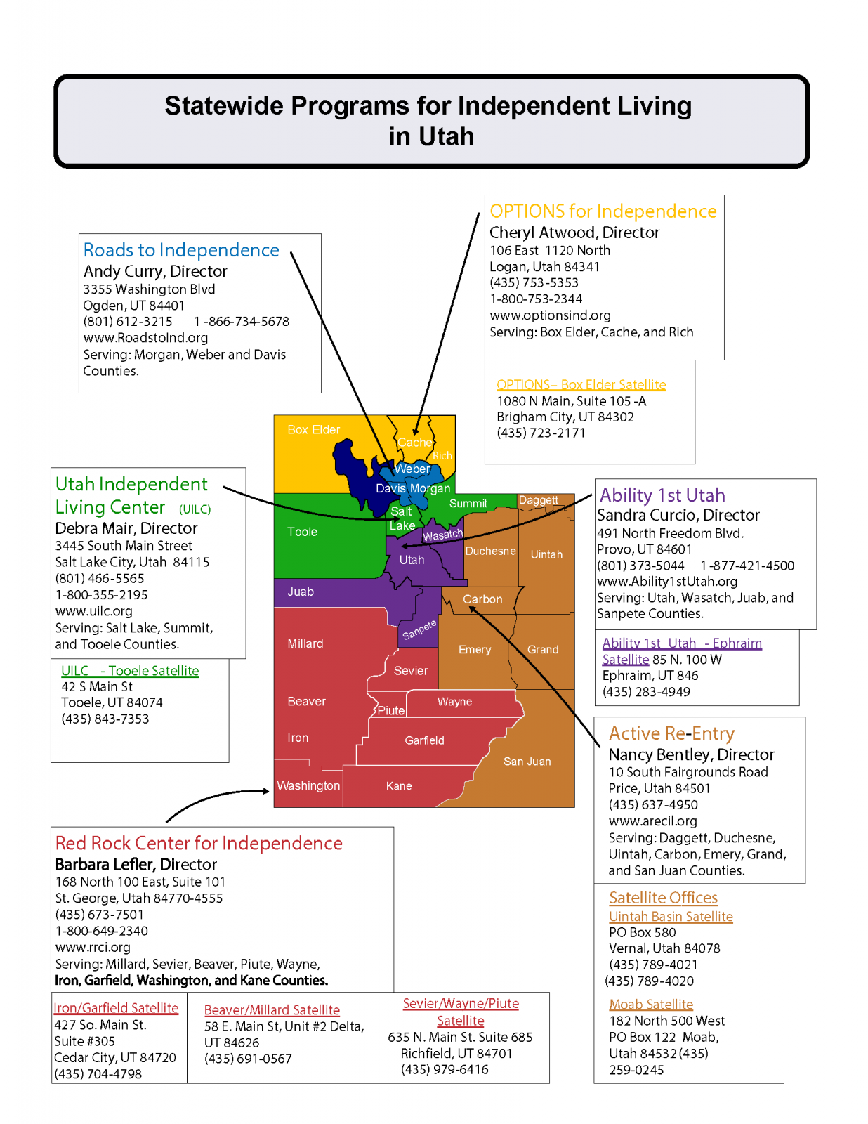 map of independent living centers in utah