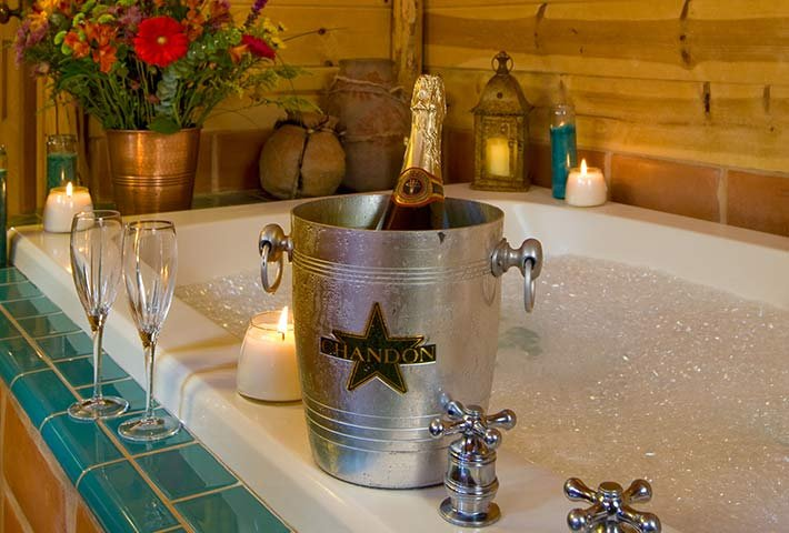 Champagne and Candle at Gold Mountain Manor in Big Bear Lake, CA