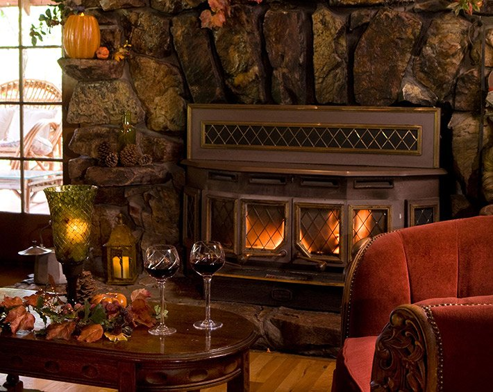Fireplace at Gold Mountain Manor in Big Bear City, CA