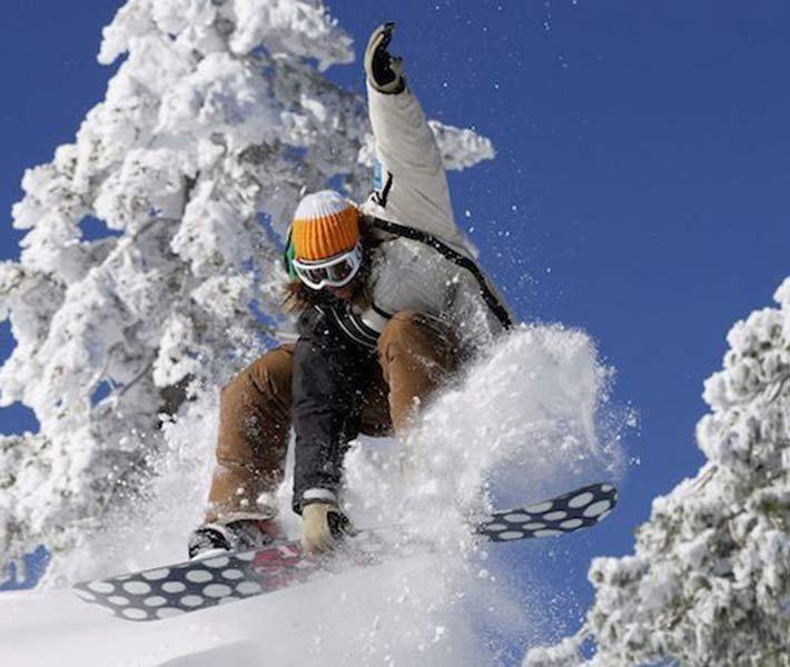 Snowboarding near Gold Mountain Manor in Big Bear Lake, CA