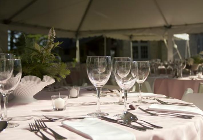 Empty wine glasses on table