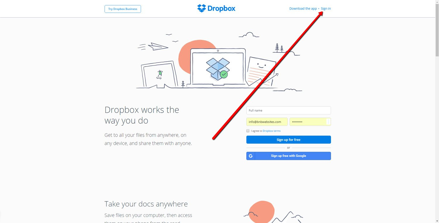 How to log in to Dropbox