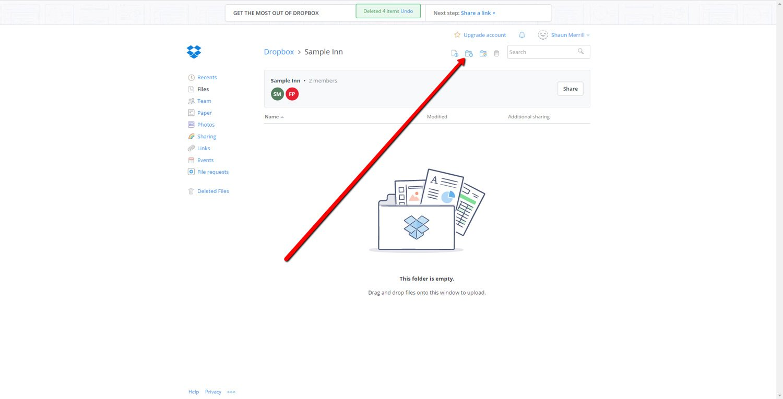 Create a new Dropbox Folder 1