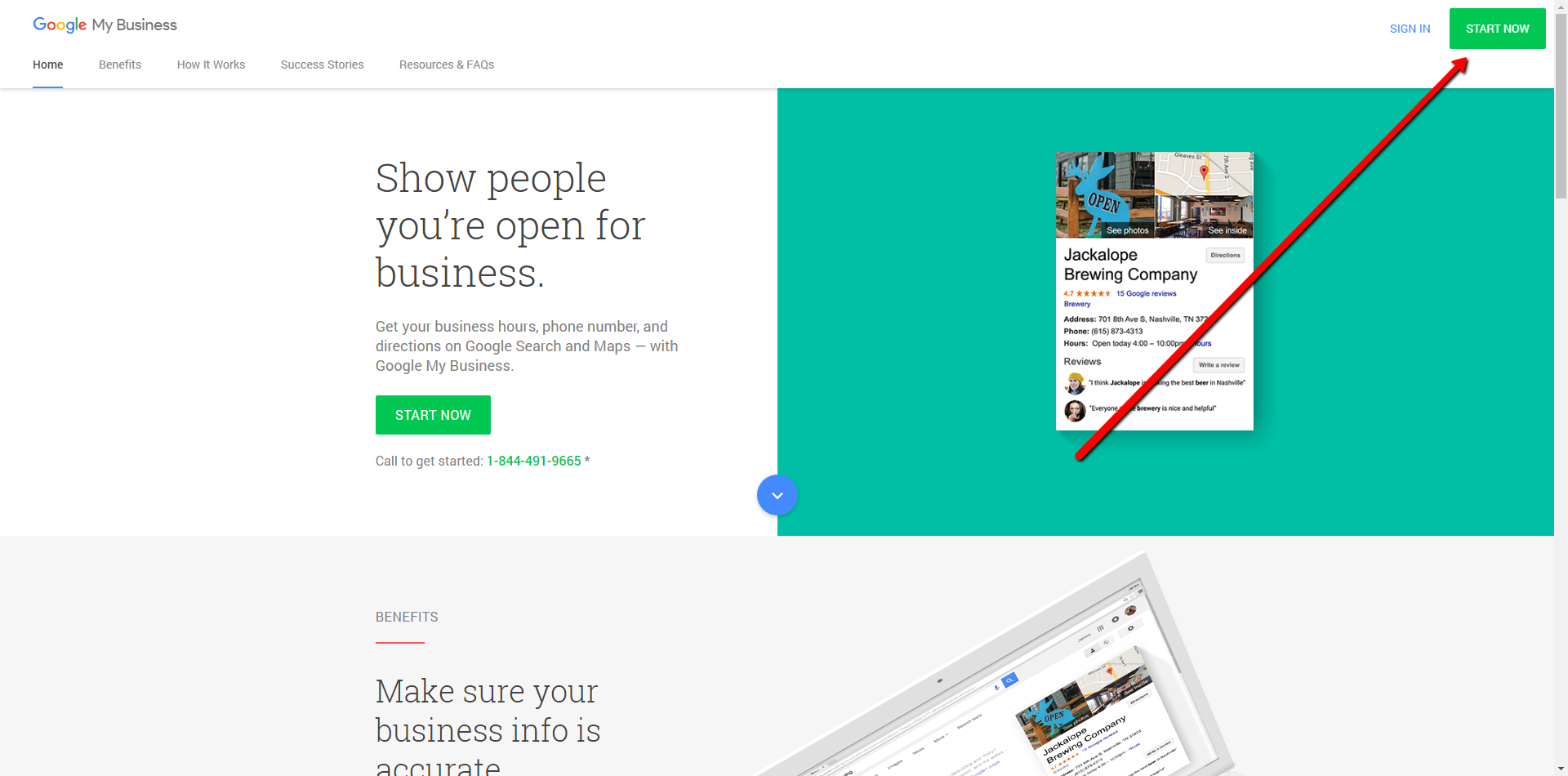 navigate to the Google My Business home page