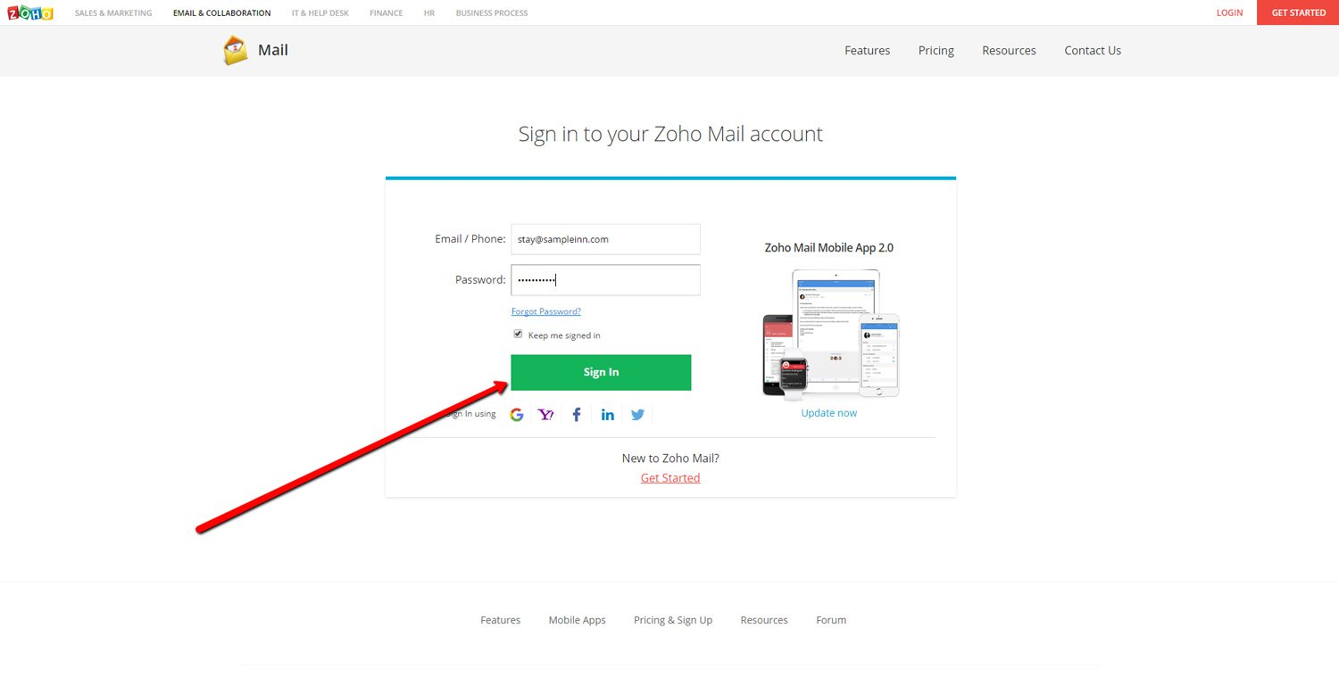 Log in to Zoho Mail 2