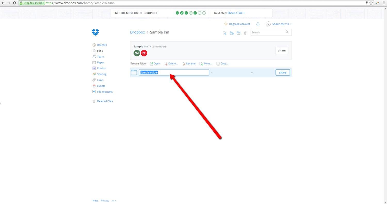Rename Dropbox Folder Online 2