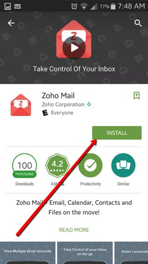 Connect ZOHO Mail to Android Devices 3