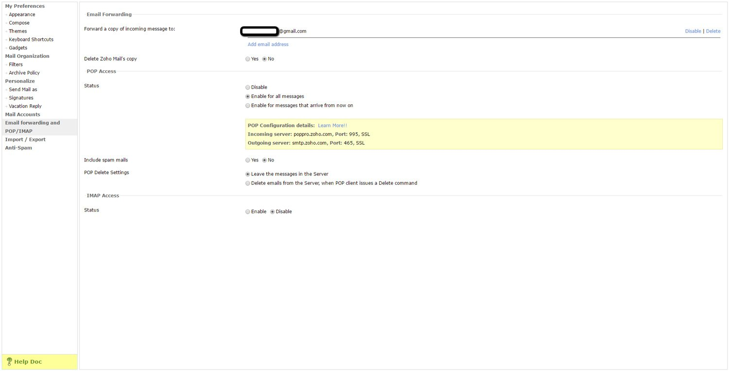 Forward Zoho Emails to another Account 8
