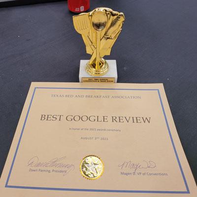 Best Google Review Award