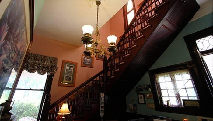 An interior stairway