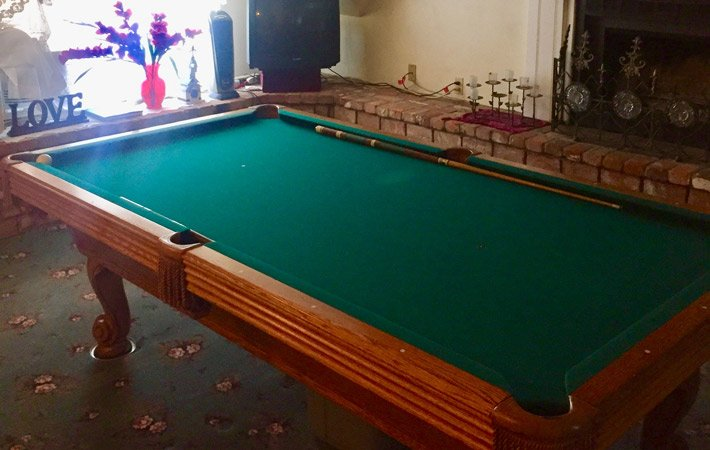 A pool table