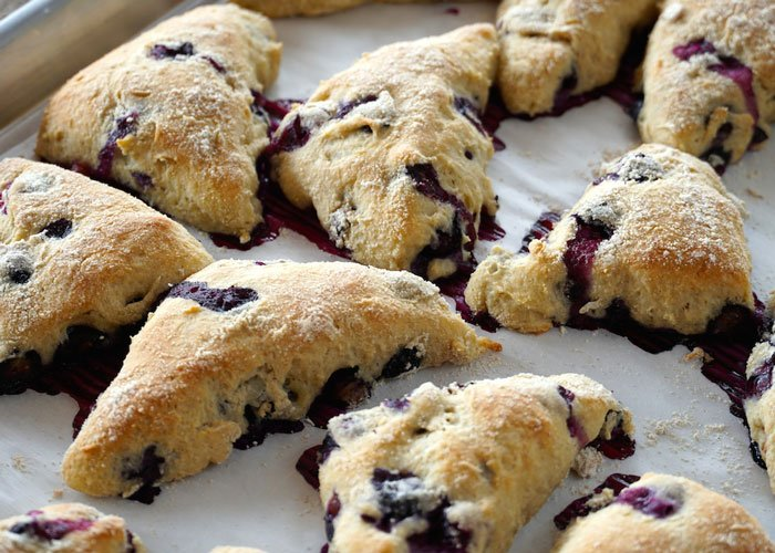 Close up of blueberry scones