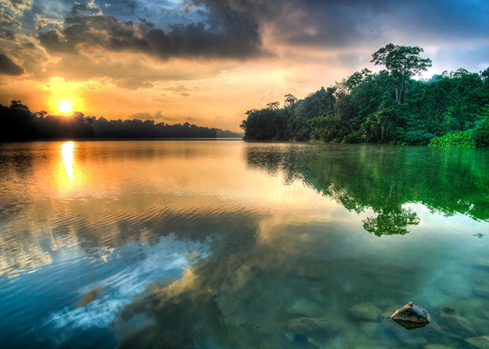 Tranquil lake at sunset