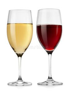 One glass of red wine and one of white wine