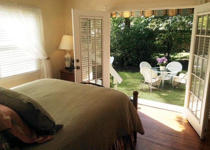 Bedroom with Open French doors