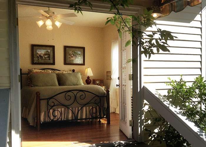 View of bedroom through garden door