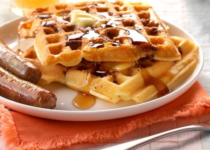 A waffle and sausage