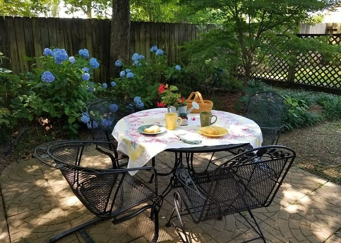 Patio with chairs and table