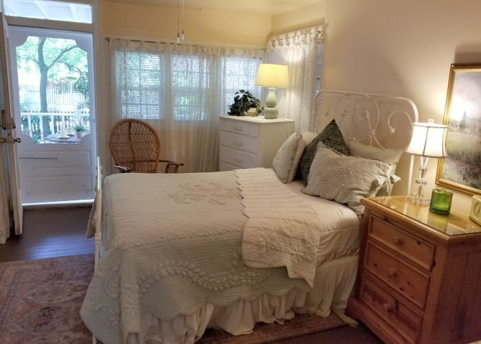 A bed and night stand
